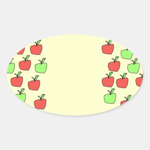 Manzanas rojas y manzanas verdes, modelo, en la pegatina ovalada