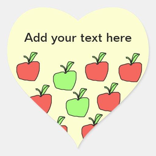 Manzanas rojas y manzanas verdes, modelo, en la pegatina en forma de corazón