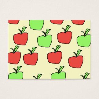 Manzanas rojas y manzanas verdes, modelo, en la tarjetas de visita grandes