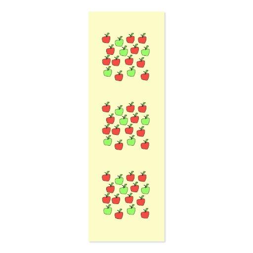 Manzanas rojas y manzanas verdes, modelo, en la tarjetas de visita mini