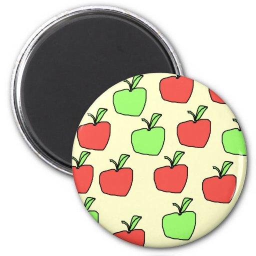 Manzanas rojas y manzanas verdes, modelo imán redondo 5 cm