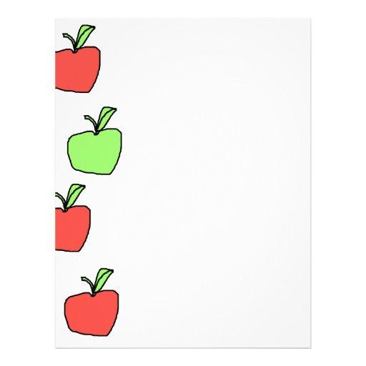 Manzanas rojas y manzanas verdes, modelo membrete a diseño