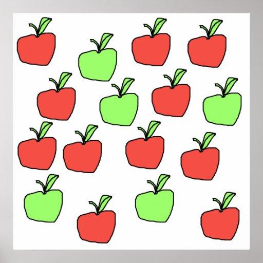 Manzanas rojas y manzanas verdes, modelo impresiones