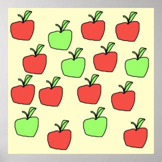 Manzanas rojas y manzanas verdes, modelo posters