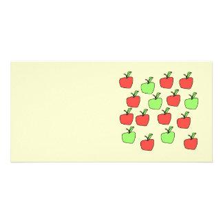 Manzanas rojas y manzanas verdes modelo tarjeta con foto personalizada