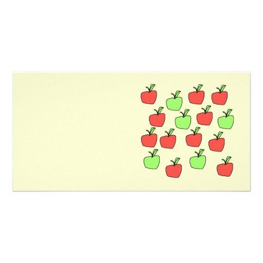 Manzanas rojas y manzanas verdes, modelo tarjetas con fotos personalizadas