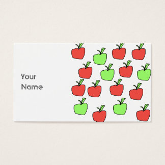 Manzanas rojas y modelo verde de las manzanas tarjetas de visita