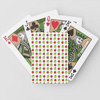 Manzanas rojas y verdes baraja cartas de poker