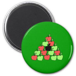 Manzanas rojas y verdes. Bolas de piscina, triángu Imán Redondo 5 Cm