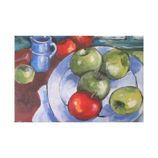 Manzanas rojas y verdes impresiones en lienzo estiradas