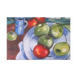 Manzanas rojas y verdes lona envuelta para galerias