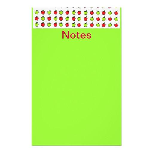 Manzanas rojas y verdes papelería personalizada
