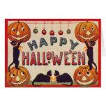 Manzanas sonrientes del gato negro de la calabaza tarjeta de felicitación