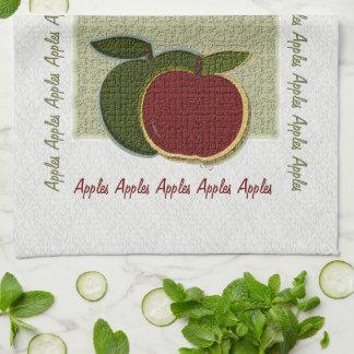 Manzanas texturizadas (sabio/blanco) toalla de cocina