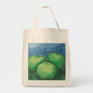 Manzanas verdes en pasteles del aceite bolsa tela para la compra
