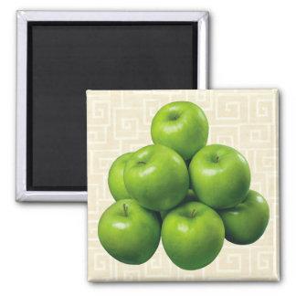 Manzanas verdes imán cuadrado
