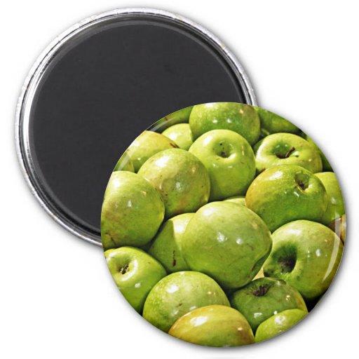 Manzanas verdes imanes para frigoríficos