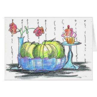 Manzanas verdes magdalena y tarjeta de nota de las