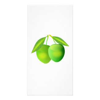 Manzanas verdes tarjeta personal con foto