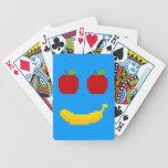 Manzanas y arte del pixel del plátano baraja cartas de poker