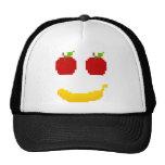 Manzanas y arte del pixel del plátano gorras