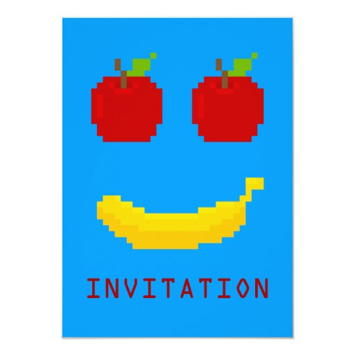 Manzanas y arte del pixel del plátano comunicados personales