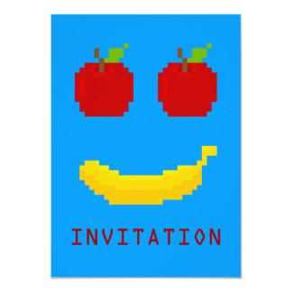 """Manzanas y arte del pixel del plátano invitación 4.5"""" x 6.25"""""""