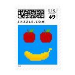 Manzanas y arte del pixel del plátano sello
