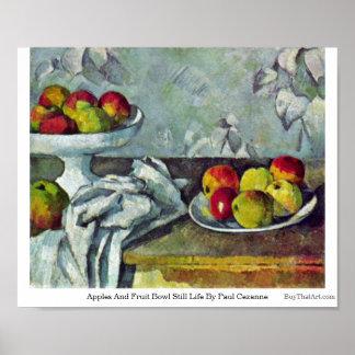 Manzanas y de fruta todavía del cuenco vida de Pau Impresiones