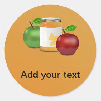 Manzanas y miel pegatina redonda