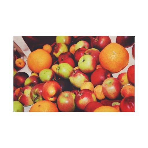 Manzanas y naranjas impresión en lona