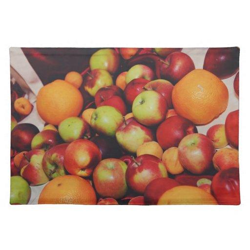 Manzanas y naranjas manteles individuales