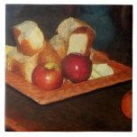 Manzanas y pan azulejo cerámica