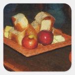 Manzanas y pan pegatina cuadrada