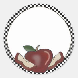Manzanas y pegatinas comprobados del espacio en pegatina redonda