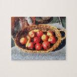 Manzanas y plátanos en cesta rompecabezas con fotos