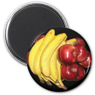 Manzanas y plátanos imanes para frigoríficos