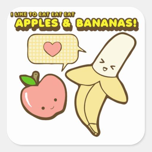 Manzanas y plátanos pegatina cuadrada