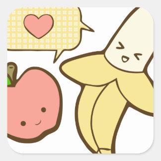 Manzanas y plátanos (textless) pegatina cuadrada