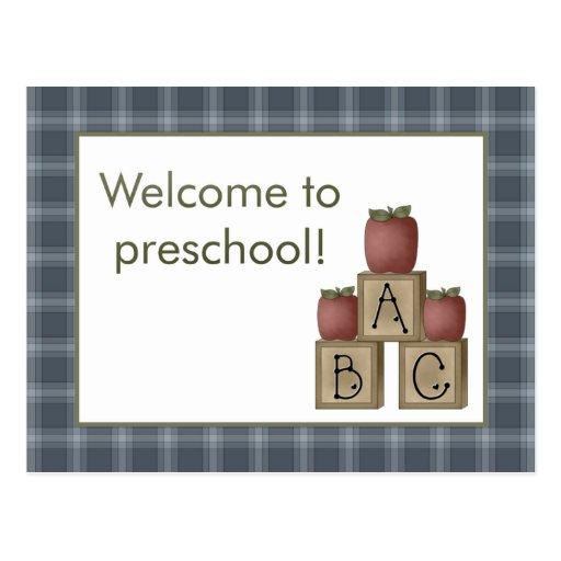 Manzanas y recepción de ABC a la postal preescolar