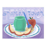 Manzanas y tarjeta de Rosh Hashanah de la miel Postal