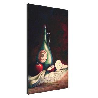 Manzanas y vino rojo - pequeños impresión en lienzo