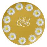 Manzanilla con la placa del monograma plato de comida