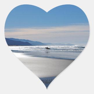 Manzanita Beach - Surfing in Oregon Heart Sticker