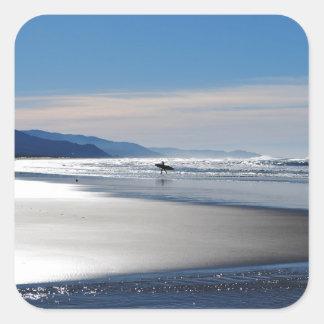 Manzanita Beach - Surfing in Oregon Square Sticker