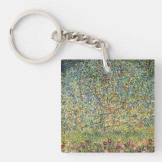 Manzano De Gustavo Klimt, arte Nouveau del vintage Llavero Cuadrado Acrílico A Doble Cara