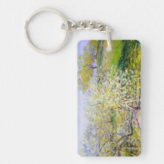 Manzanos En la floración, Claude Monet 1873 Llavero Rectangular Acrílico A Doble Cara