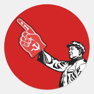 Mao - el comunismo es #1 pegatina redonda