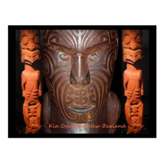 Maori carvings postcard
