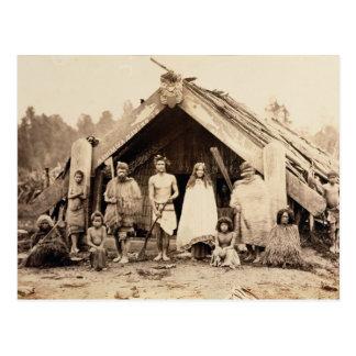 Maori Family, New Zealand, c.1880s (albumen print) Postcard